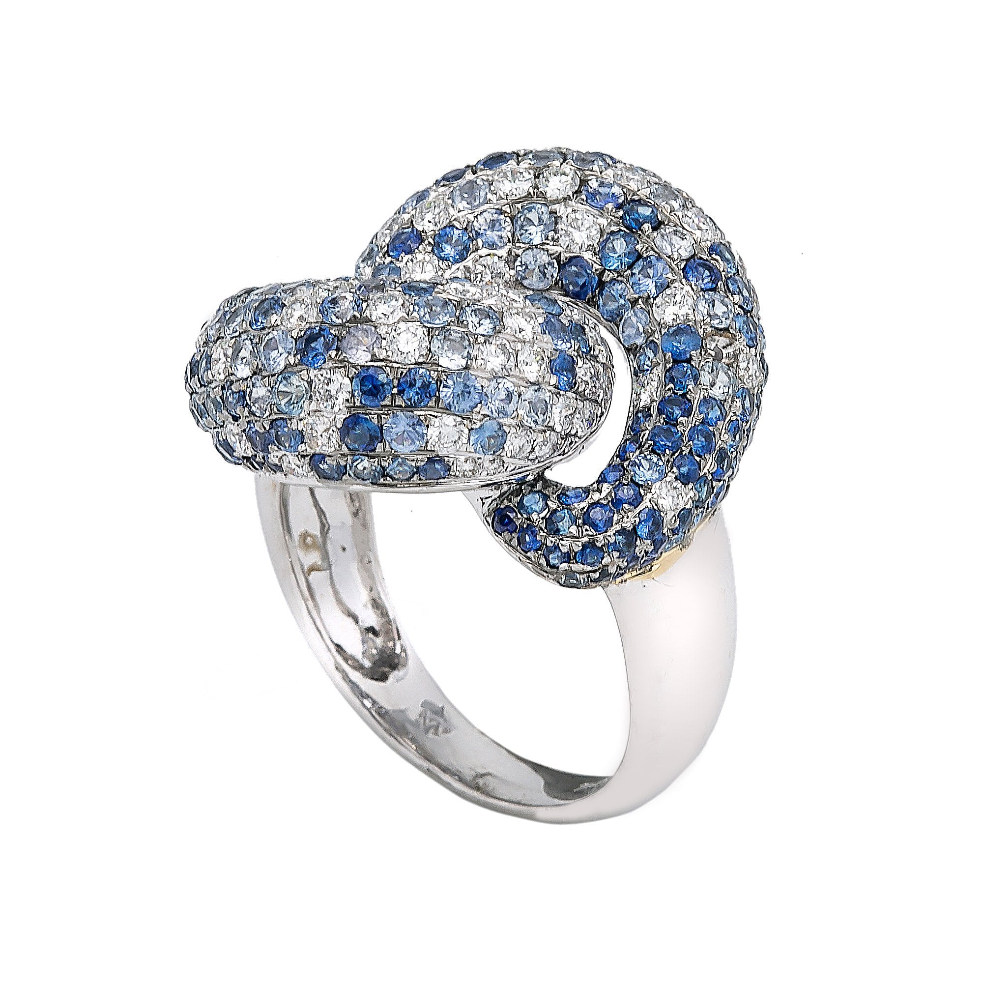 LADIES 18K WHITE GOLD HAND RING WITH 1.48 CT DIAMONDS AND 4.45 CT SAPPHIRES