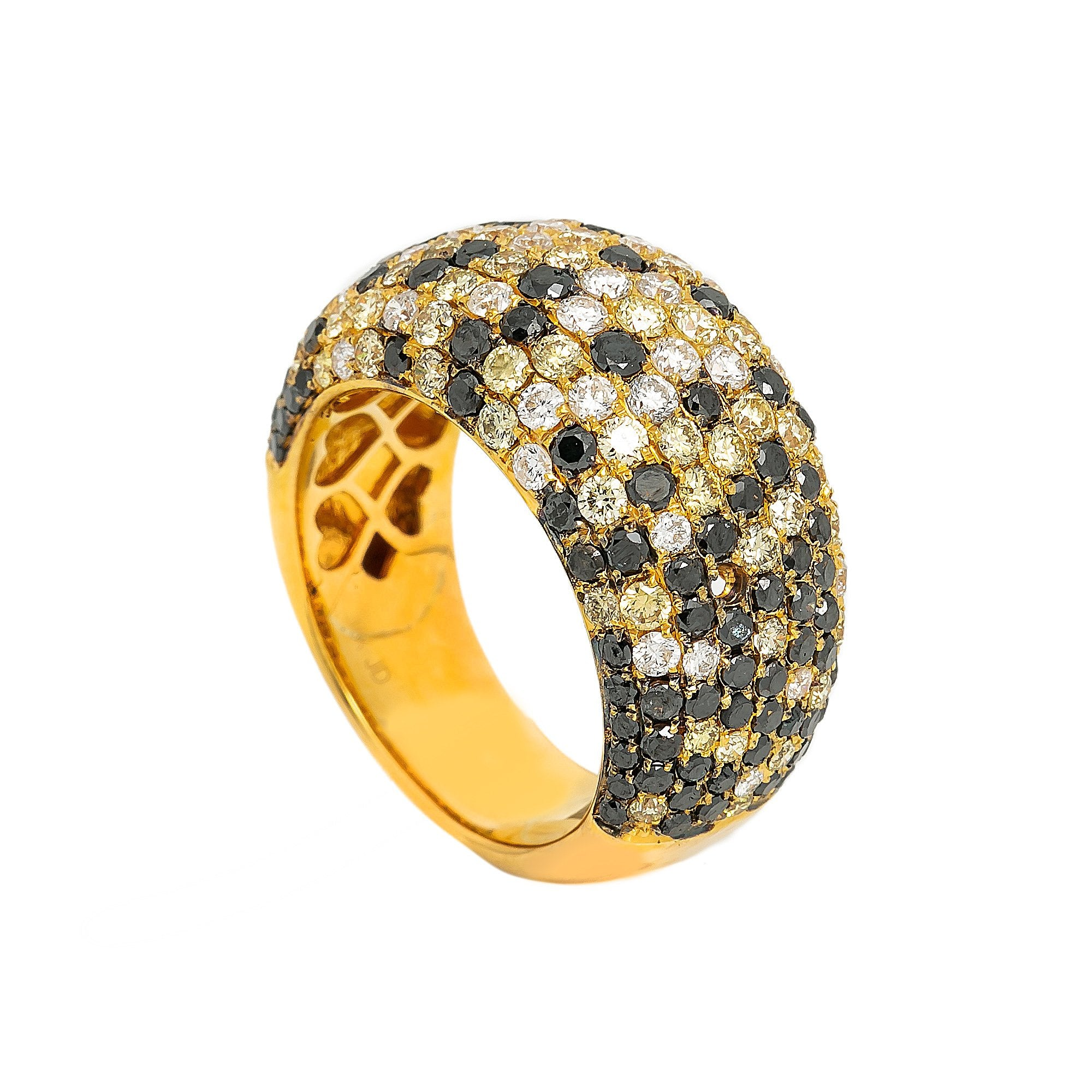 LADIES 18K YELLOW GOLD HAND RING WITH 4.23 CT DIAMONDS