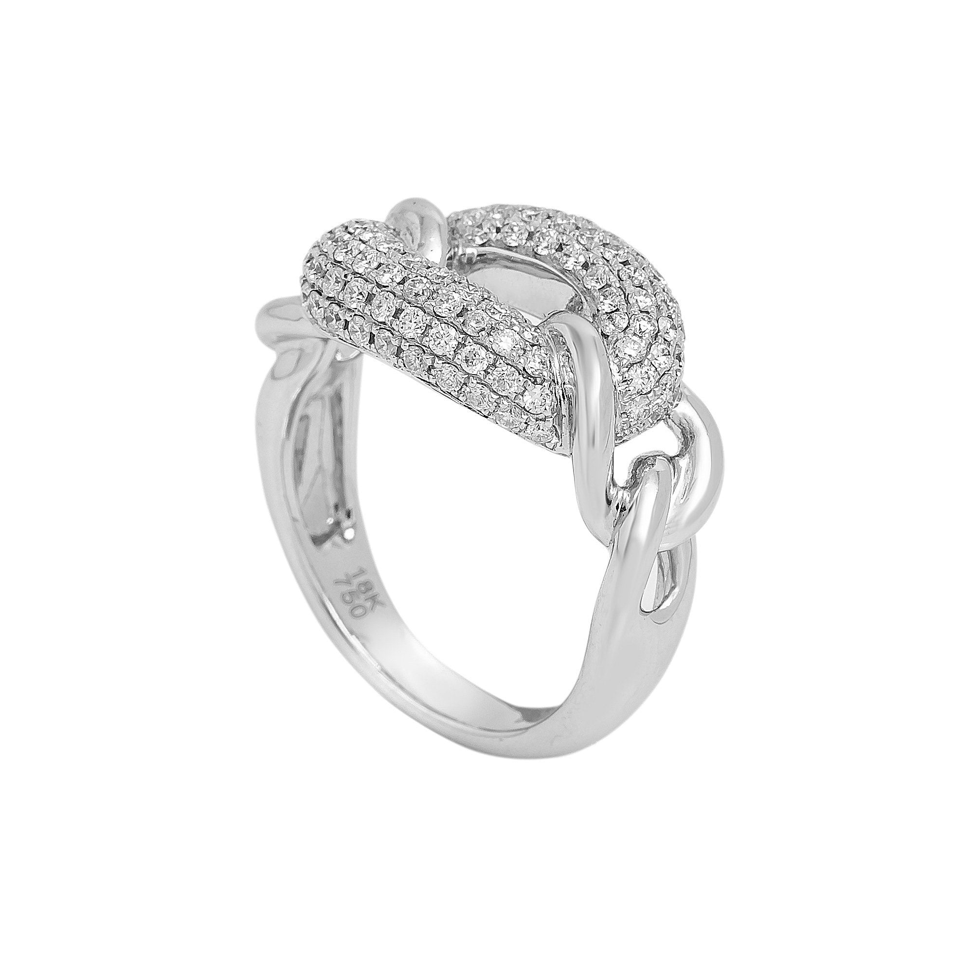 LADIES 18K WHITE GOLD HAND RING WITH 0.80 CT DIAMONDS