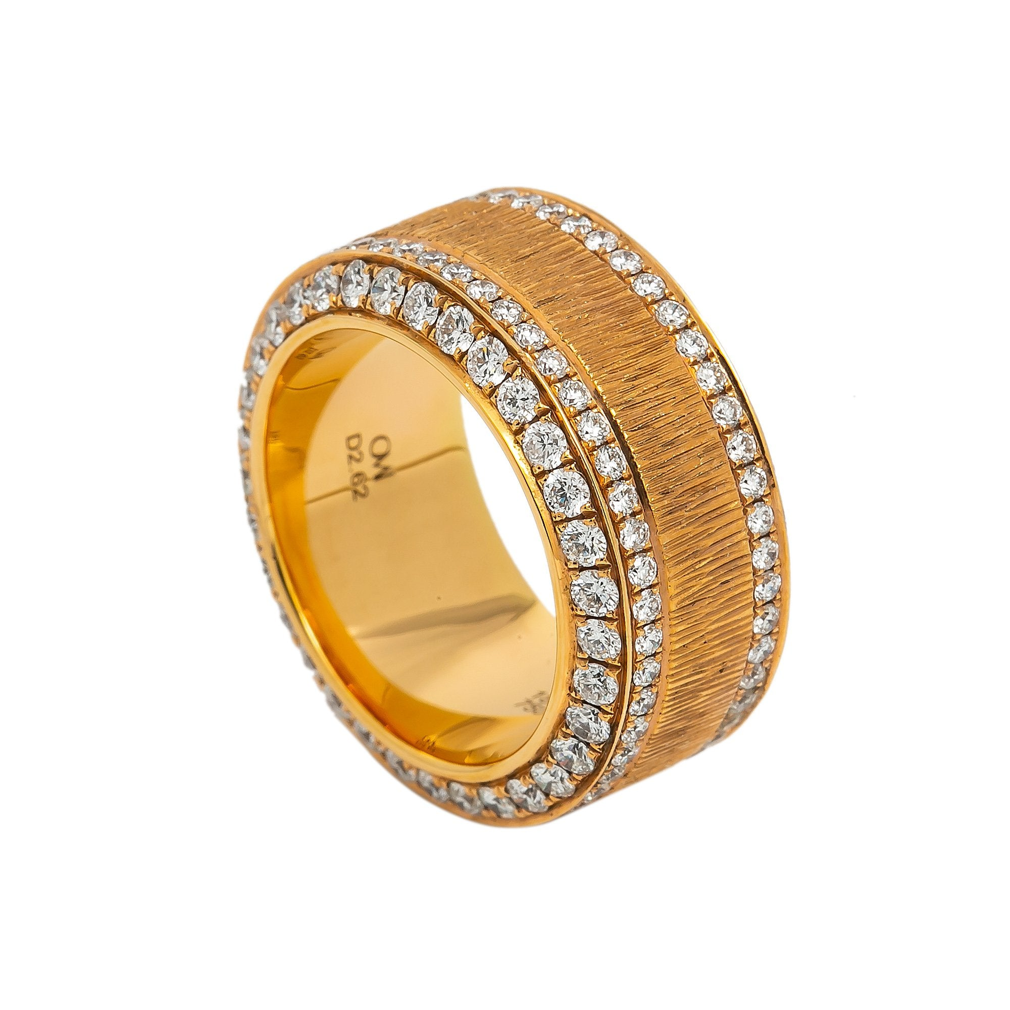 LADIES 18K YELLOW GOLD HAND RING WITH 2.62 CT DIAMONDS