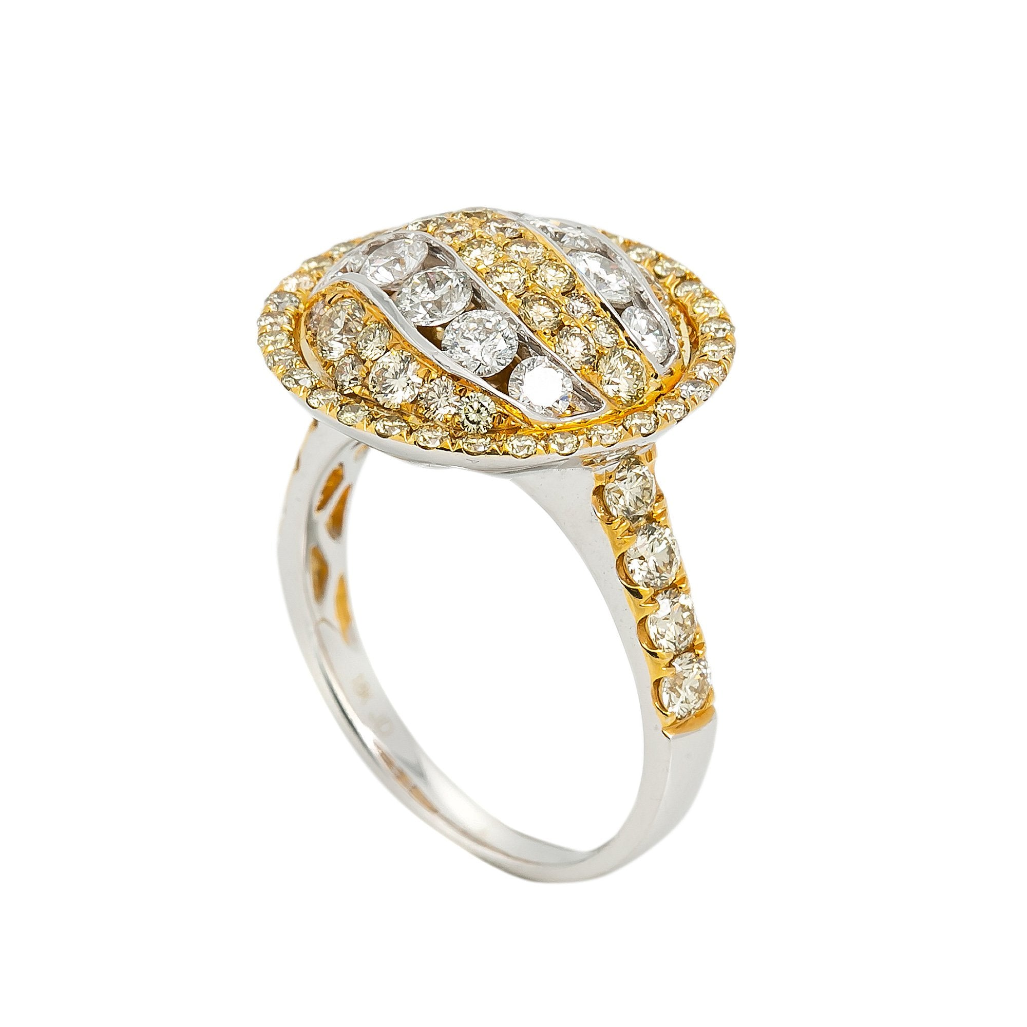 LADIES 18K YELLOW AND WHITE GOLD HAND RING WITH 2.72 CT DIAMONDS
