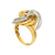 LADIES 18K YELLOW GOLD HAND RING WITH 0.60 CT DIAMONDS