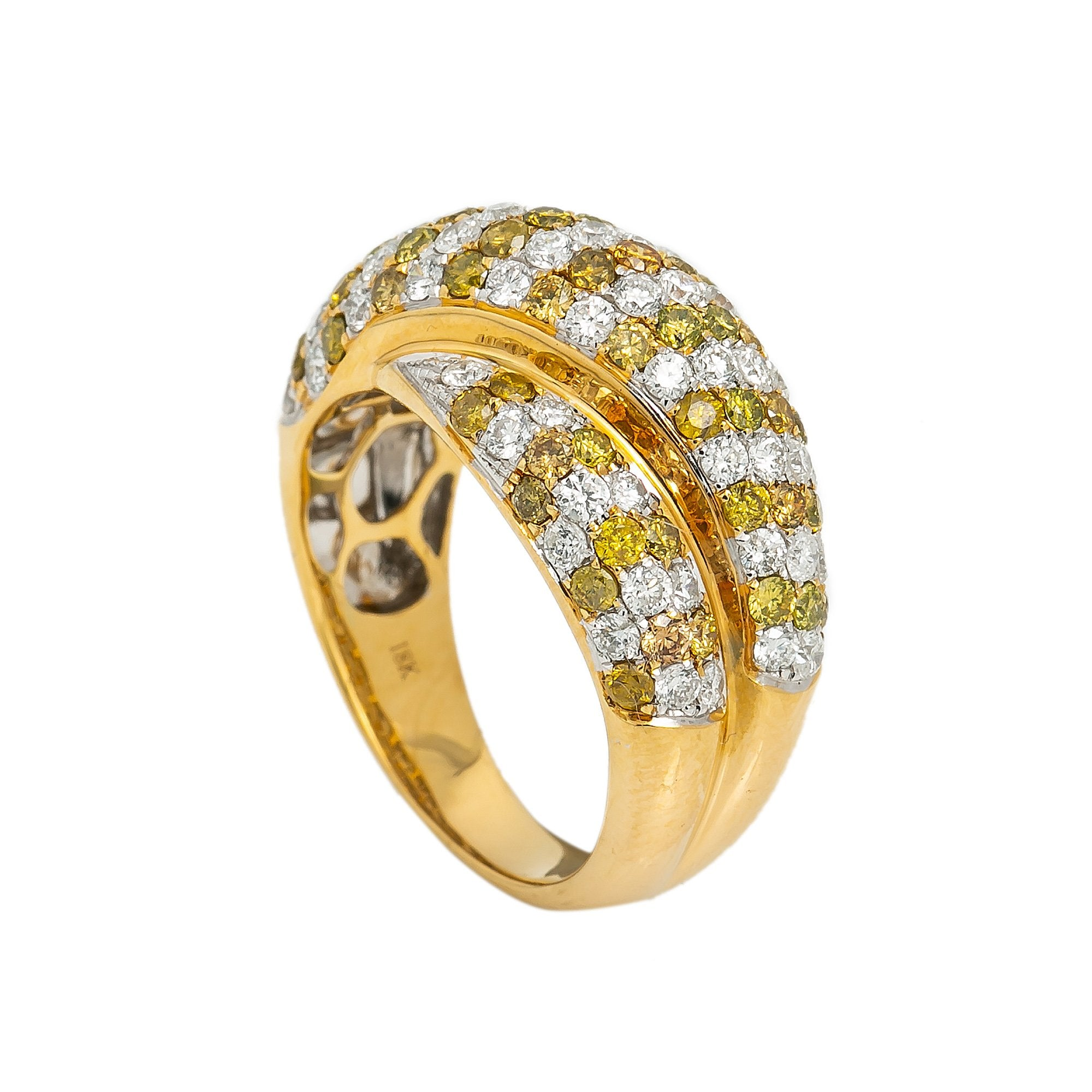 LADIES 18K YELLOW GOLD HAND RING WITH 2.5 CT DIAMONDS