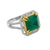 LADIES 18K WHITE GOLD HAND RING WITH 0.60 CT DIAMONDS AND 6.18 CT EMERALD