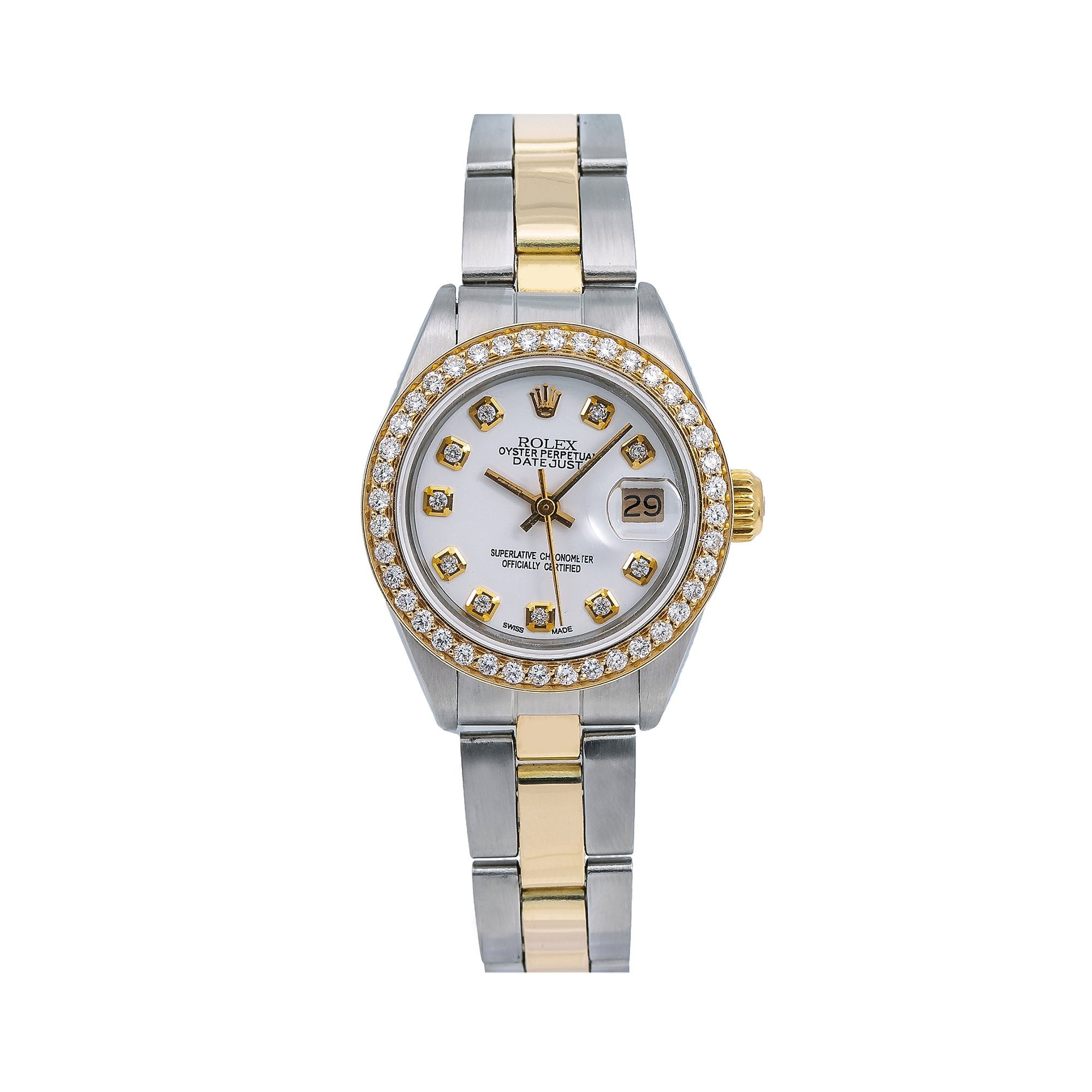 Rolex Lady-Datejust Diamond Watch, 6917 26mm, White Diamond Dial With 0.90 CT Diamonds