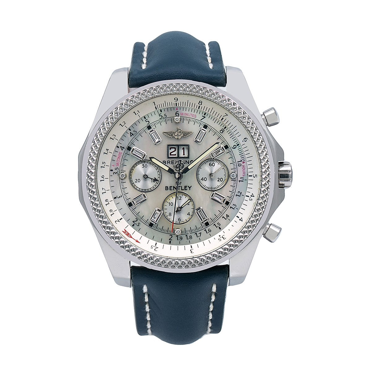 Breitling Bentley 6 75 A44362 48mm White Dial With Leather Bracelet Majorleaguejewelers