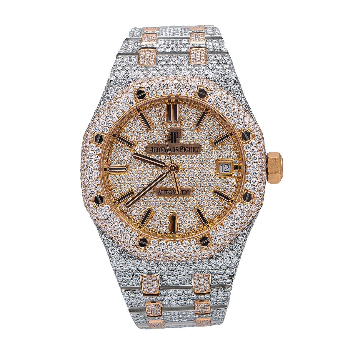Audemars Piguet Royal Oak Self Winding 15450SR.OO.1256SR.01 37MM Champagne Diamond Dial With 22.75 CT Diamonds
