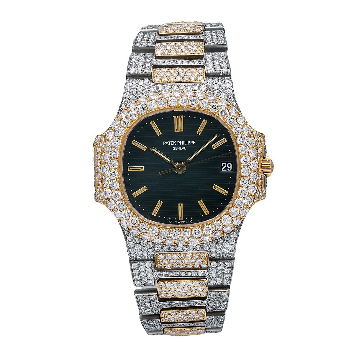 Patek Philippe Nautilus 3800 37MM Black Dial With 12.25 CT Diamonds