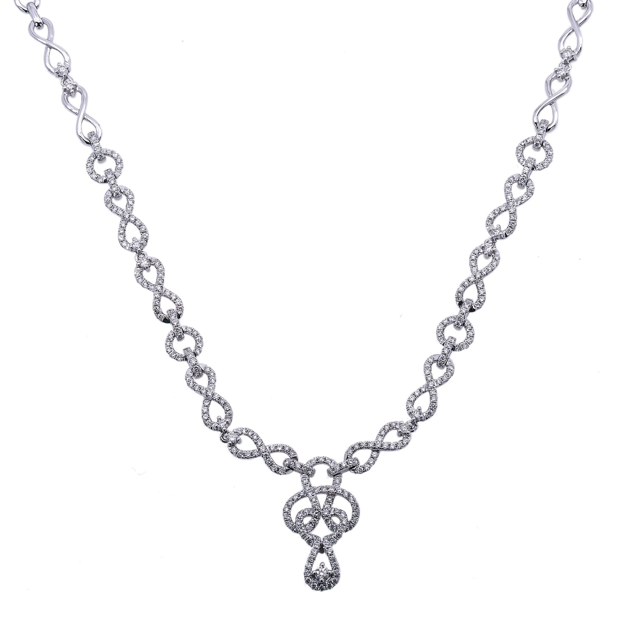 18K White Gold Women's Necklace 2.54 CT Diamonds