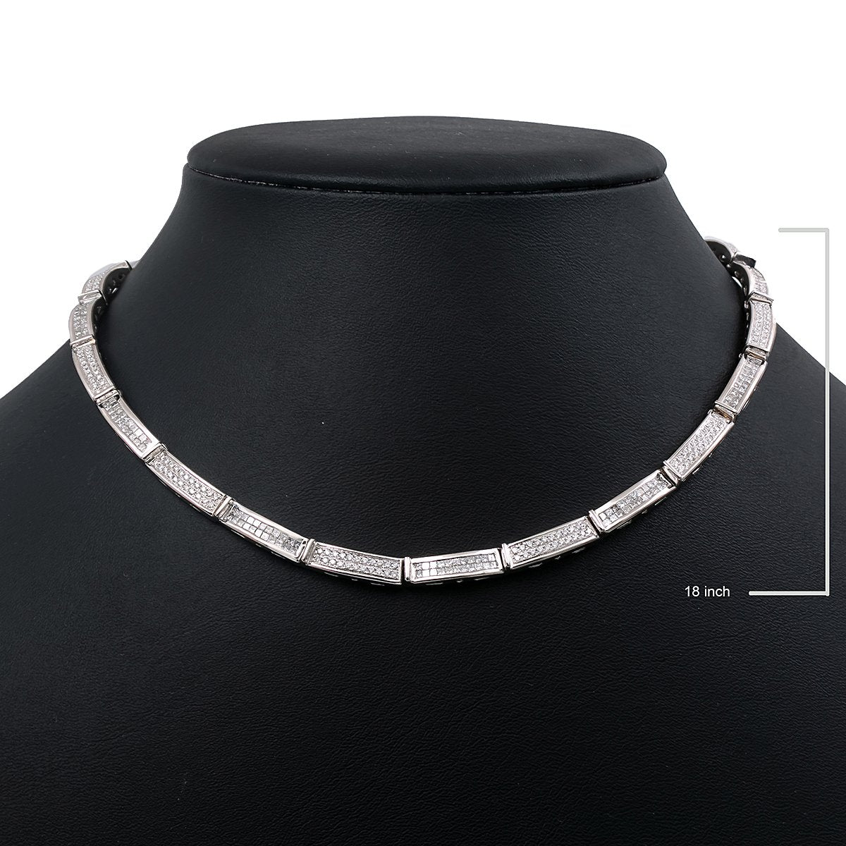 "14K White Gold 18"" Women's Necklace With 4.90 CT Diamonds"