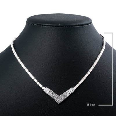 "14K White Gold CLS295 18"" Women's Necklace 1.50 CT Diamonds"