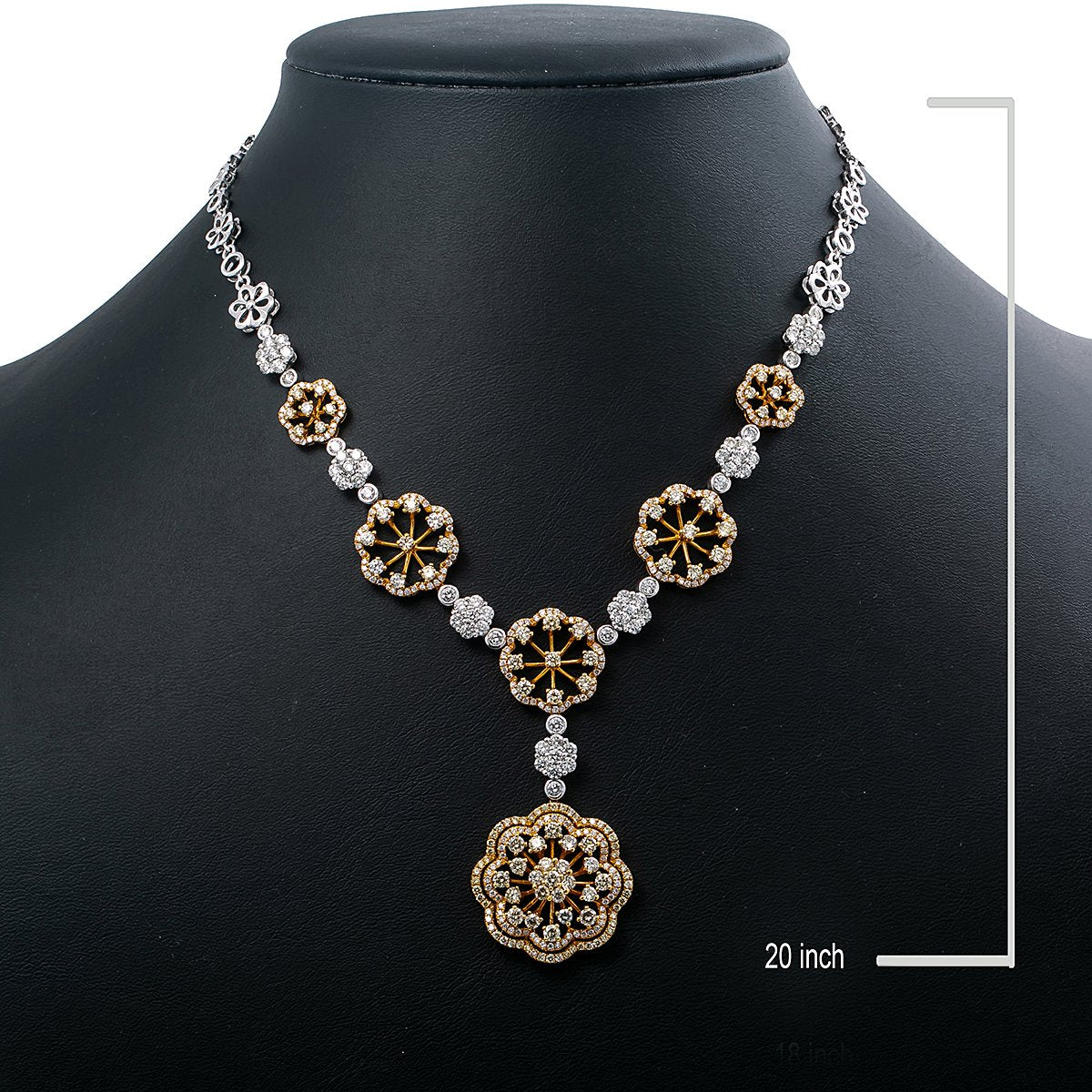 """18K Yellow and White Gold 20"""" Women's Necklace With 6.27 CT Diamonds"""
