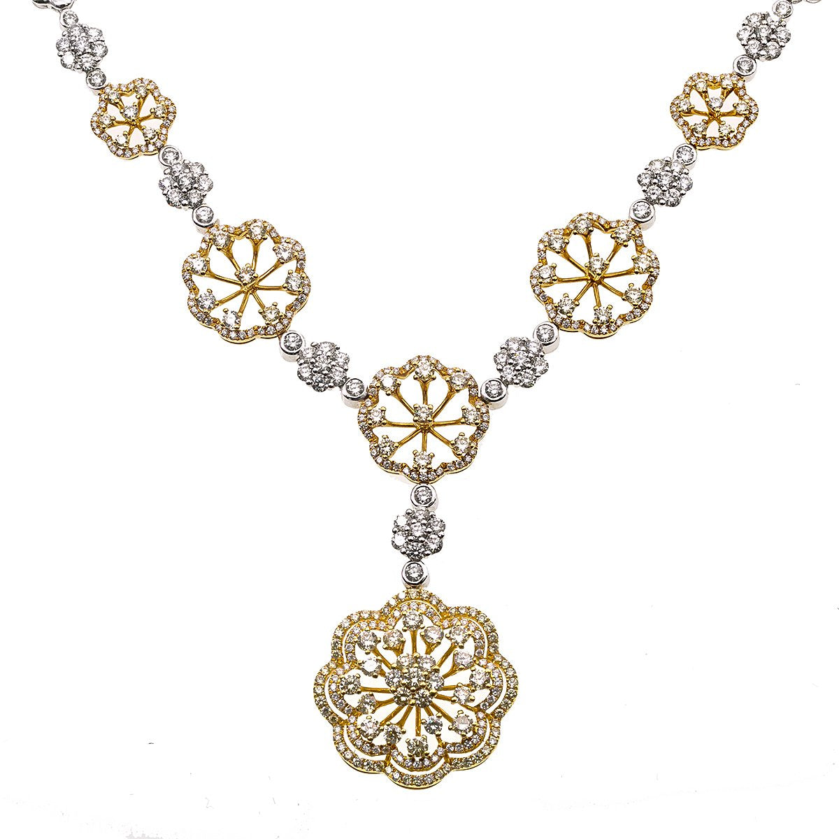 "Fancy 18K Yellow and White Gold 20"" Women's Necklace With 6.27 CT Diamonds"