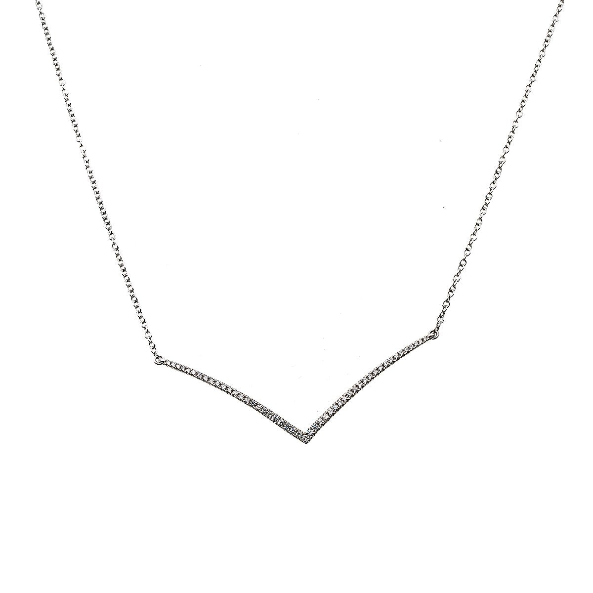 "18K White Gold DDN1005 17"" Women's Necklace With 0.45 CT Diamonds"