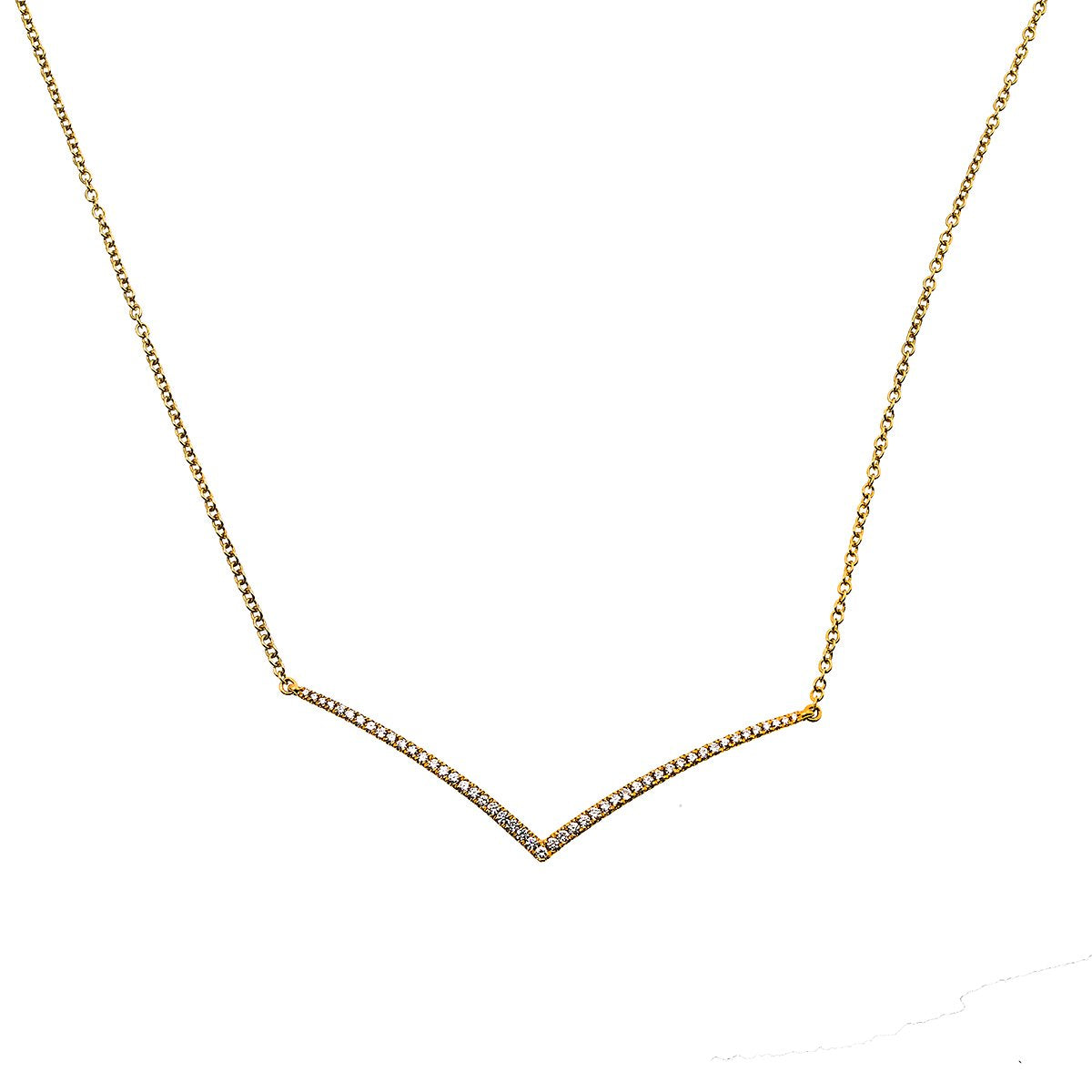 "18K Rose Gold 17"" Women's Necklace With 0.45 CT Diamonds"