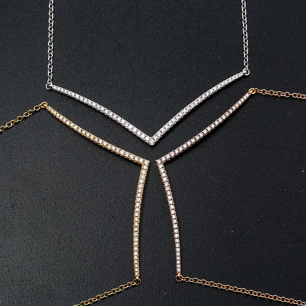 """18K Yellow Gold DDN1005 17"""" Women's Necklace With 0.45 CT Diamonds"""