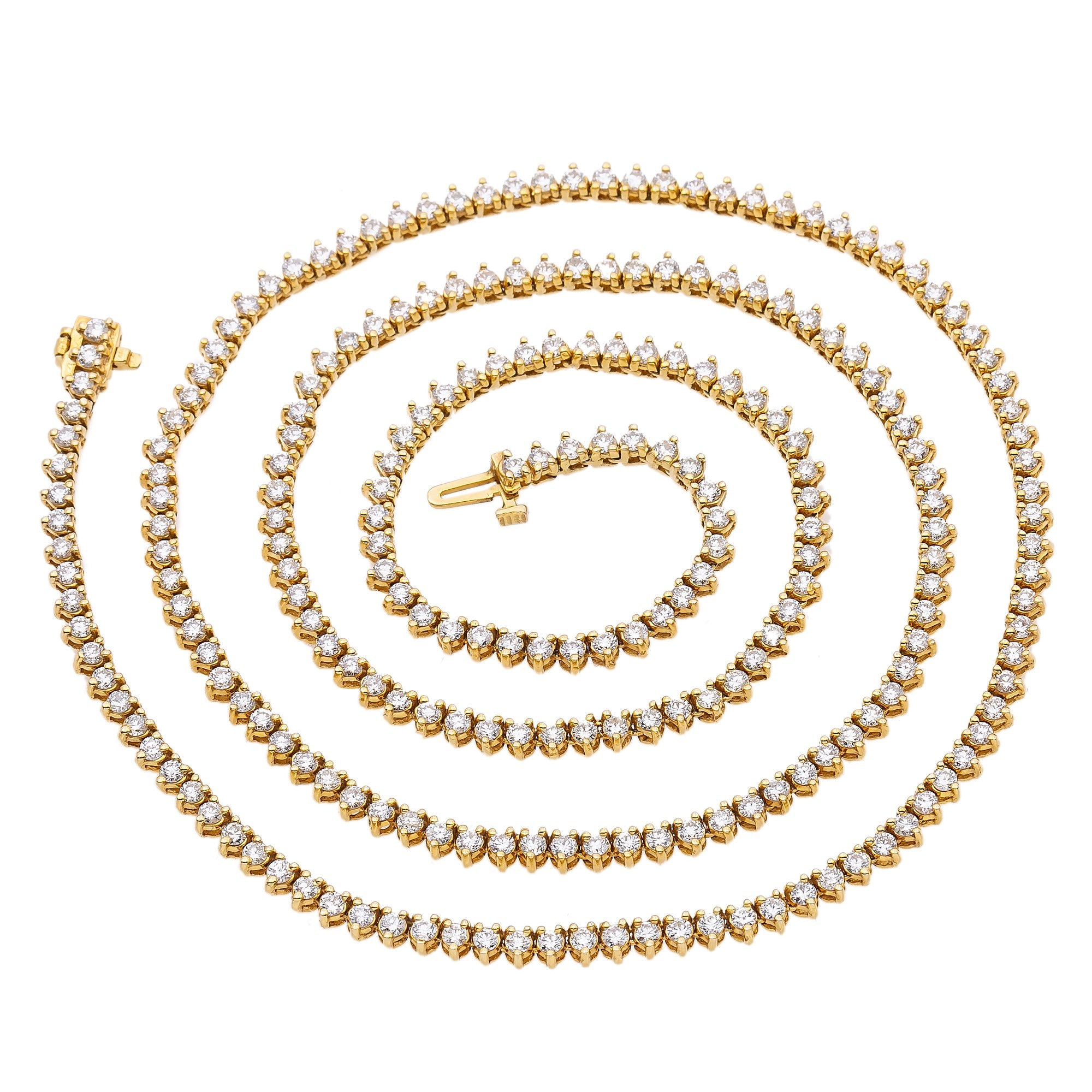 14K Yellow Gold Men's Tennis Chain  With 11.50 CT Diamonds