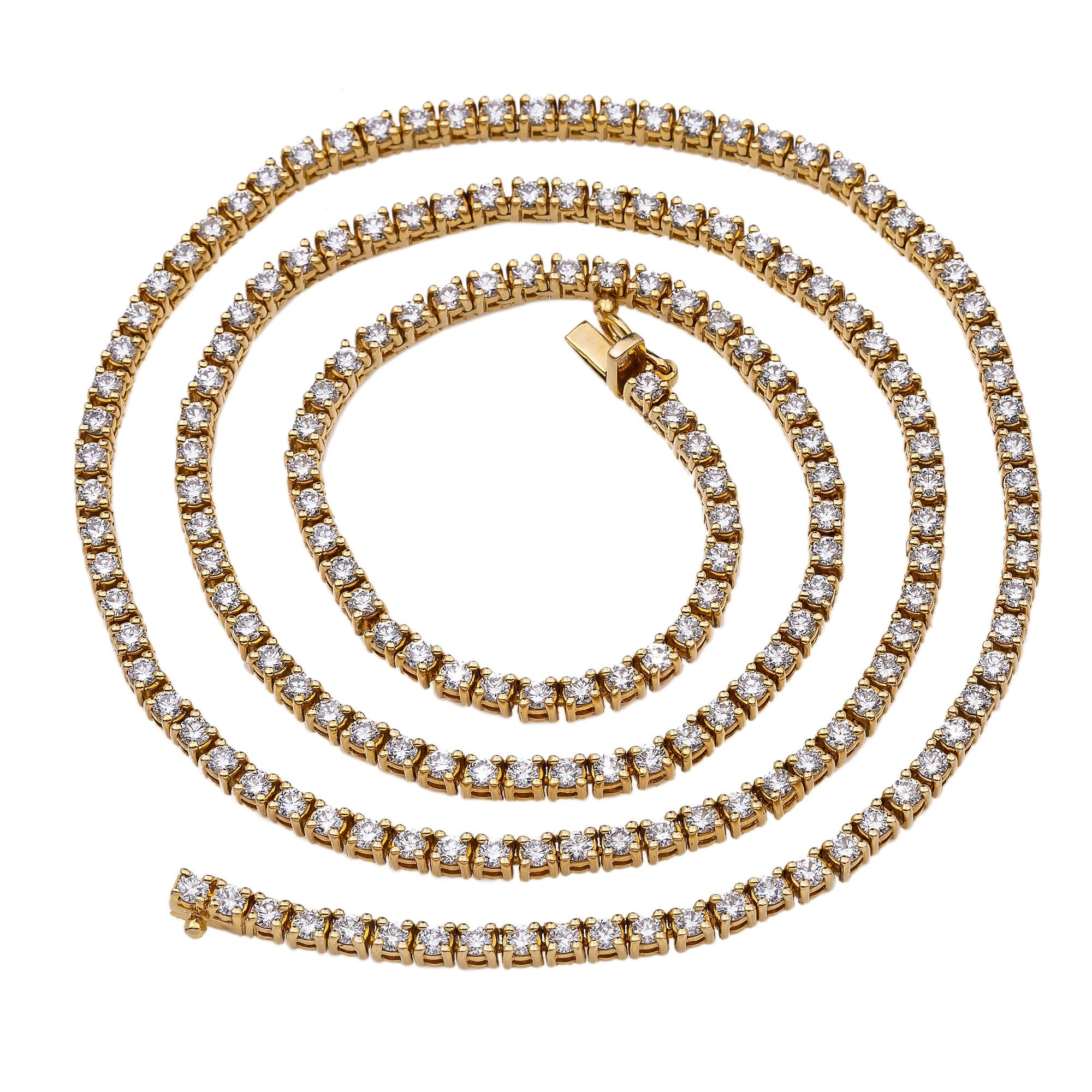 14K Yellow Gold Men's Tennis Chain With 15.75 CT Diamonds