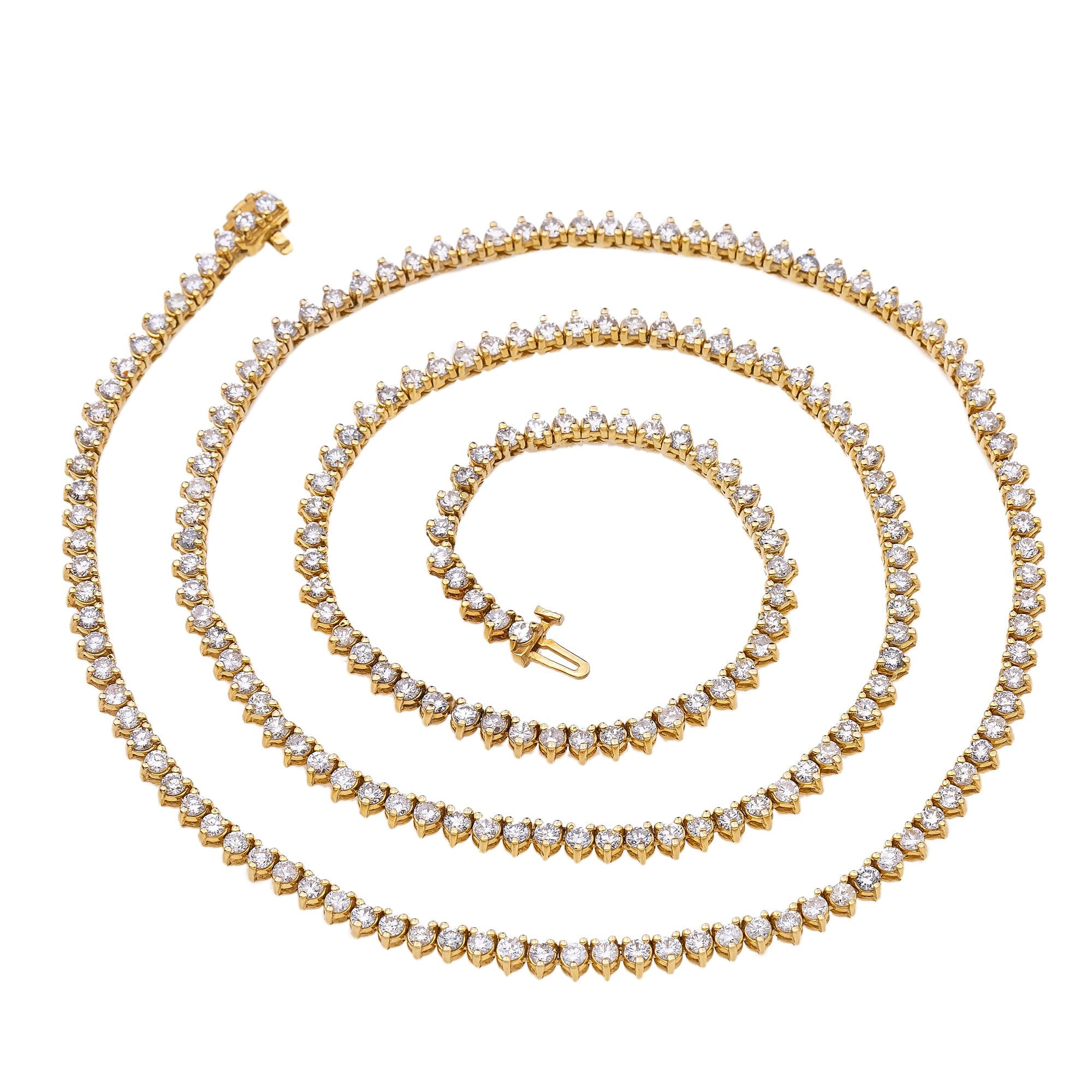 14K Yellow Gold Men's Tennis Chain With 12.05 CT Diamonds
