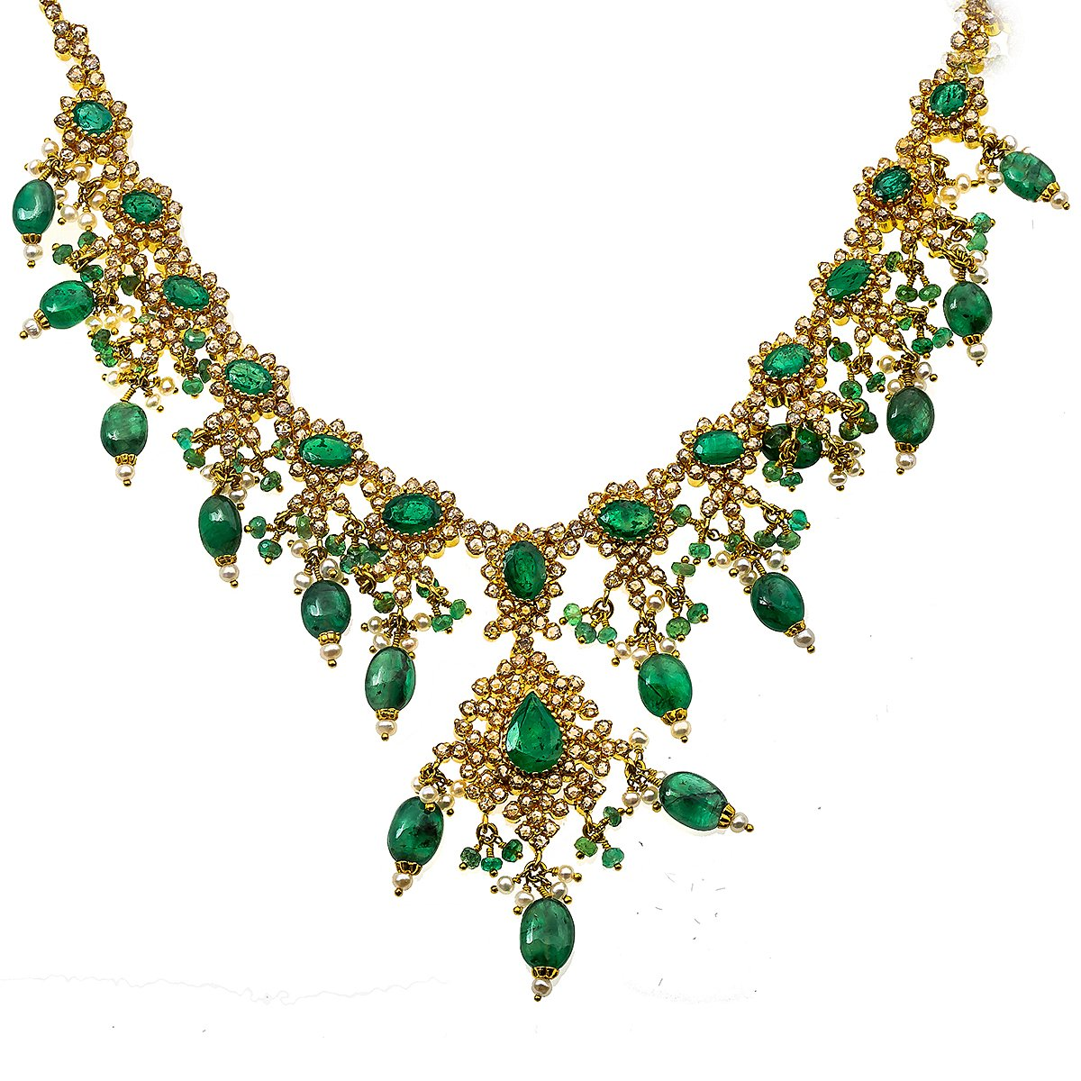 "22K Yellow Gold and 16"" Emerald Necklace With 15.00 CT Diamonds"