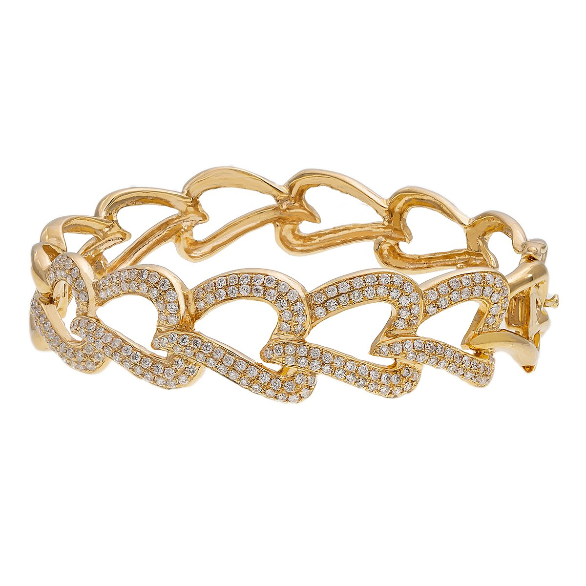 14K Yellow Gold Women's Heart Bracelet With 2.35 CT Diamonds