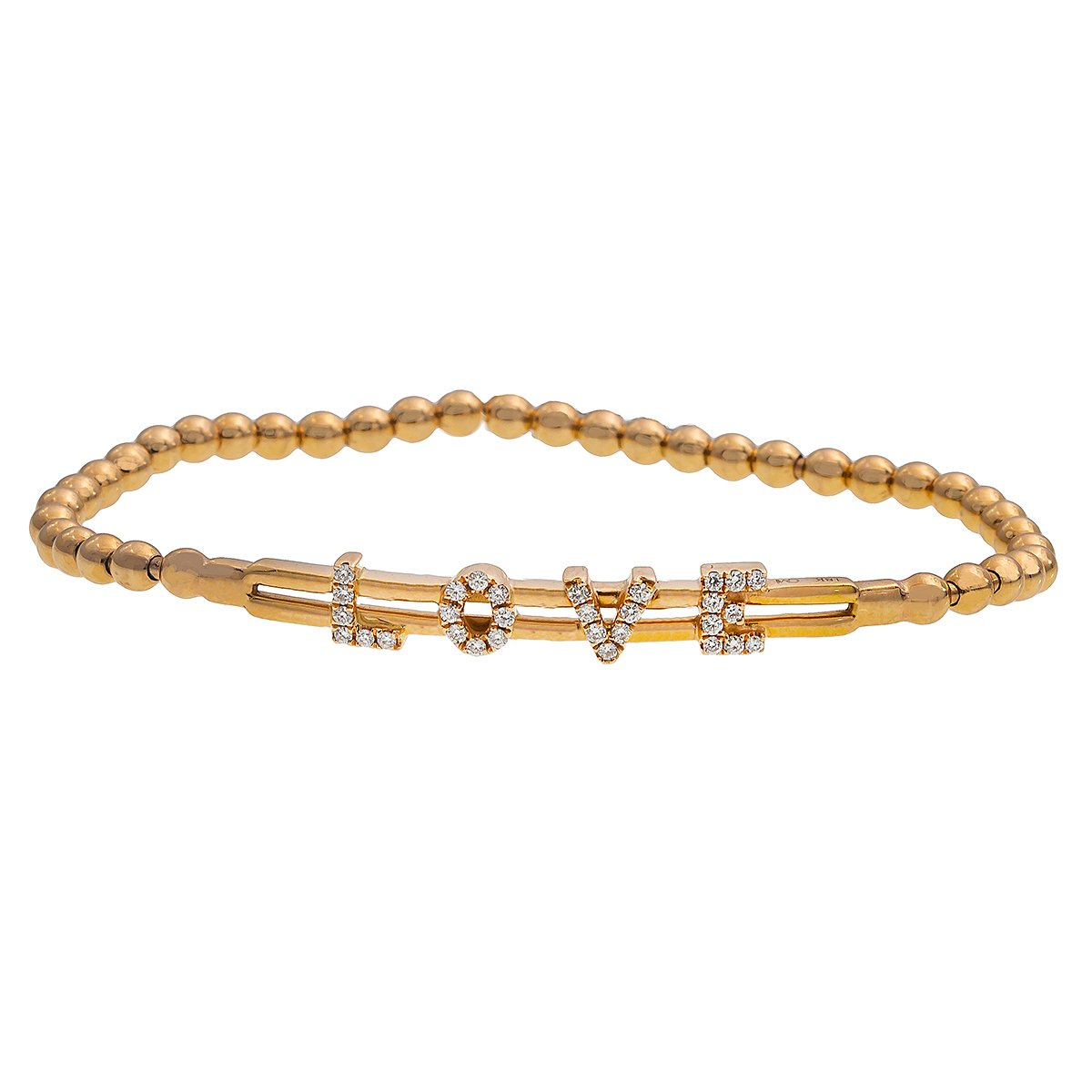 14K Rose Gold LOVE Women's Bracelet With 0.25 CT Diamonds