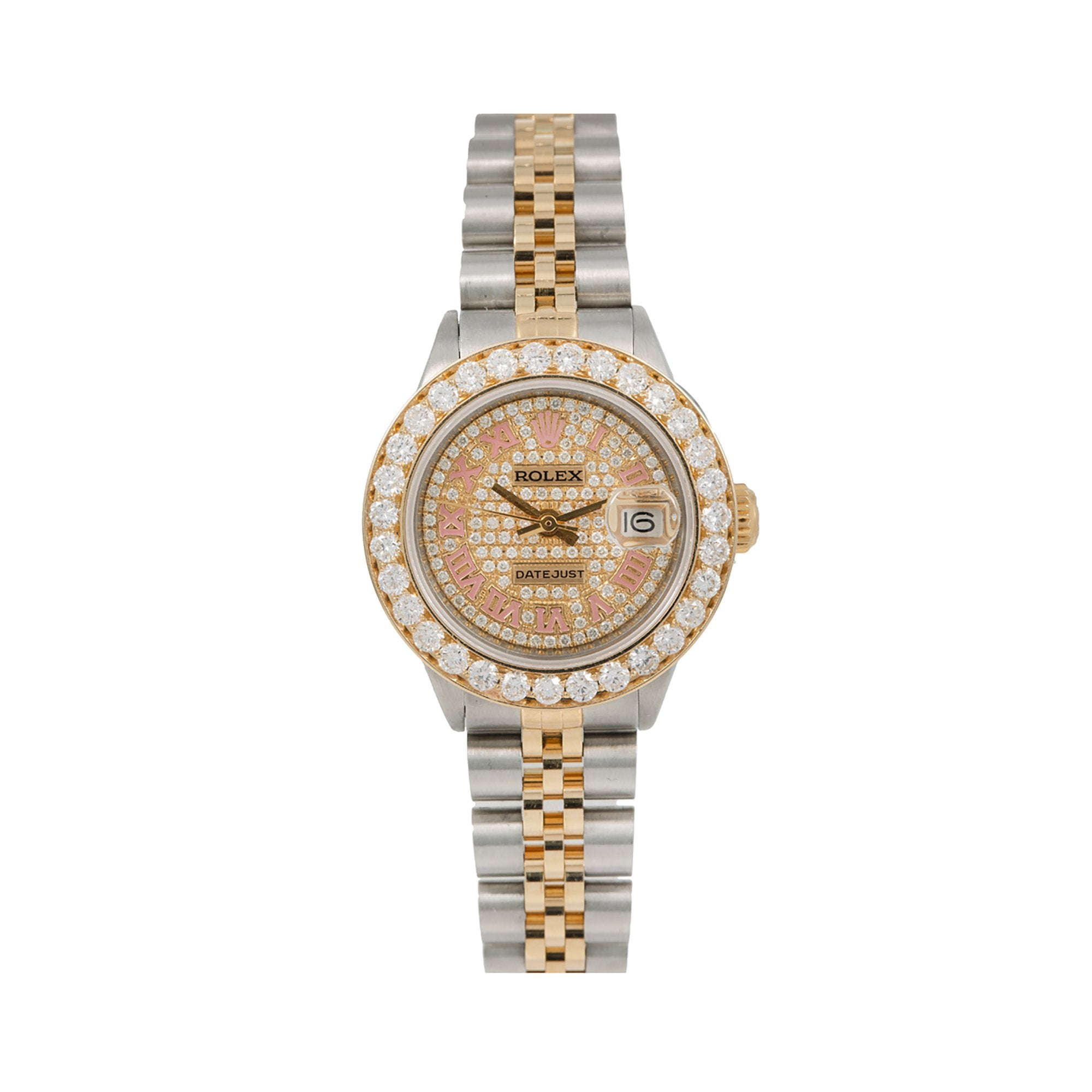 Rolex Datejust Diamond Watch, 6917 26mm, Champagne Diamond Dial With 3.45 CT Diamonds