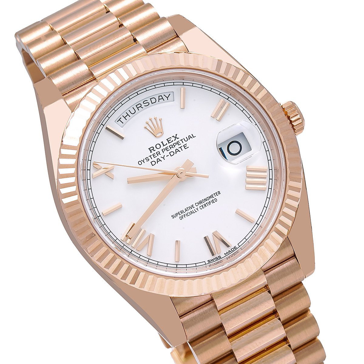 Rolex Day Date 228235 40mm White Dial With Rose Gold President Bracelet