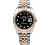 Rolex Datejust 116231 36MM Black Custom Diamond Dial With Two Tone Bracelet