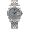 Rolex Datejust 116244 36MM Rhodium Waves With Diamonds With Stainless Steel Jubilee Bracelet