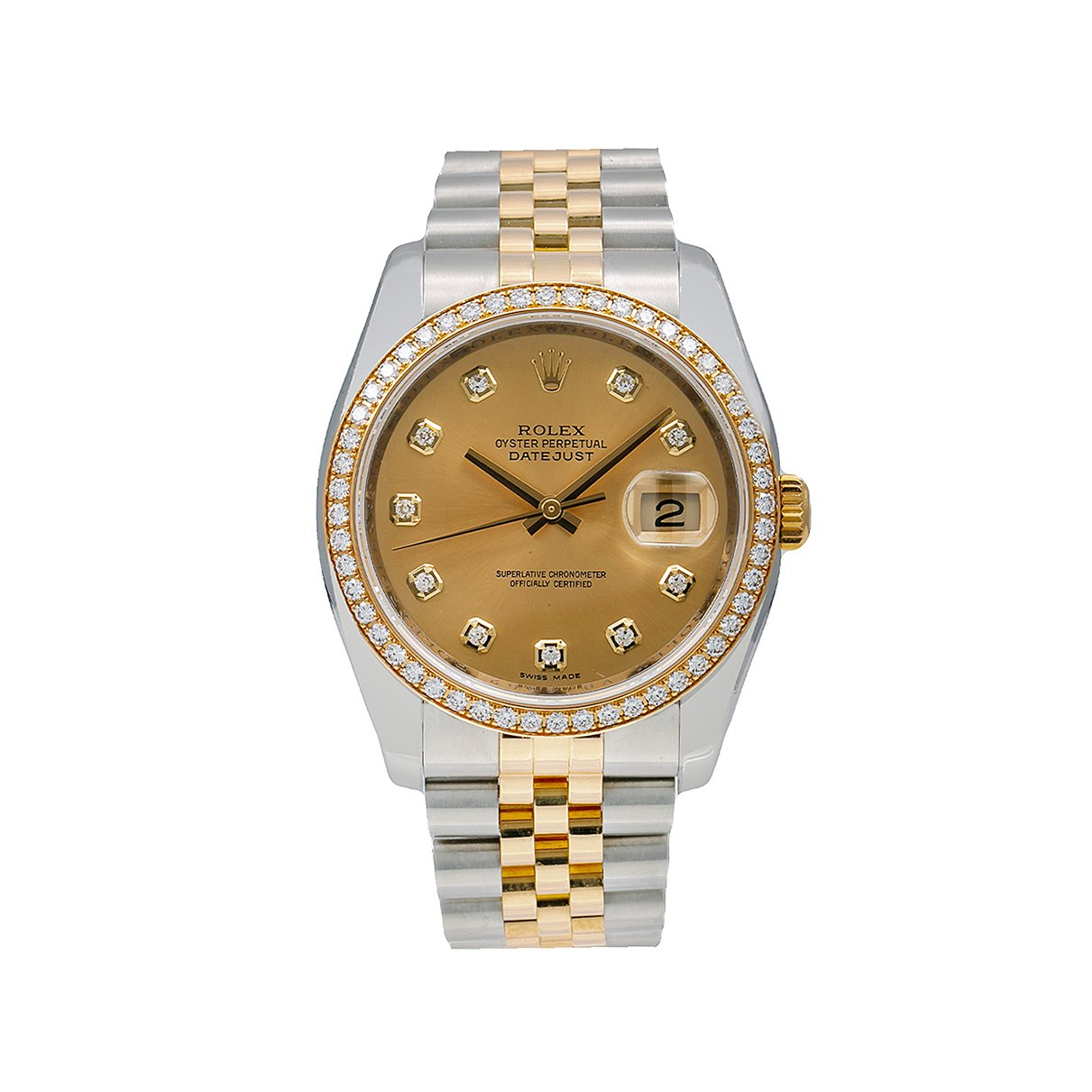 Rolex Datejust Diamond Watch, 116243 36mm, FACTORY Champagne Diamond Dial With Two Tone Jubilee Bracelet