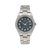 Rolex Oyster Perpetual Date 15000 34MM Black Diamond Dial With 1.05 CT Diamonds
