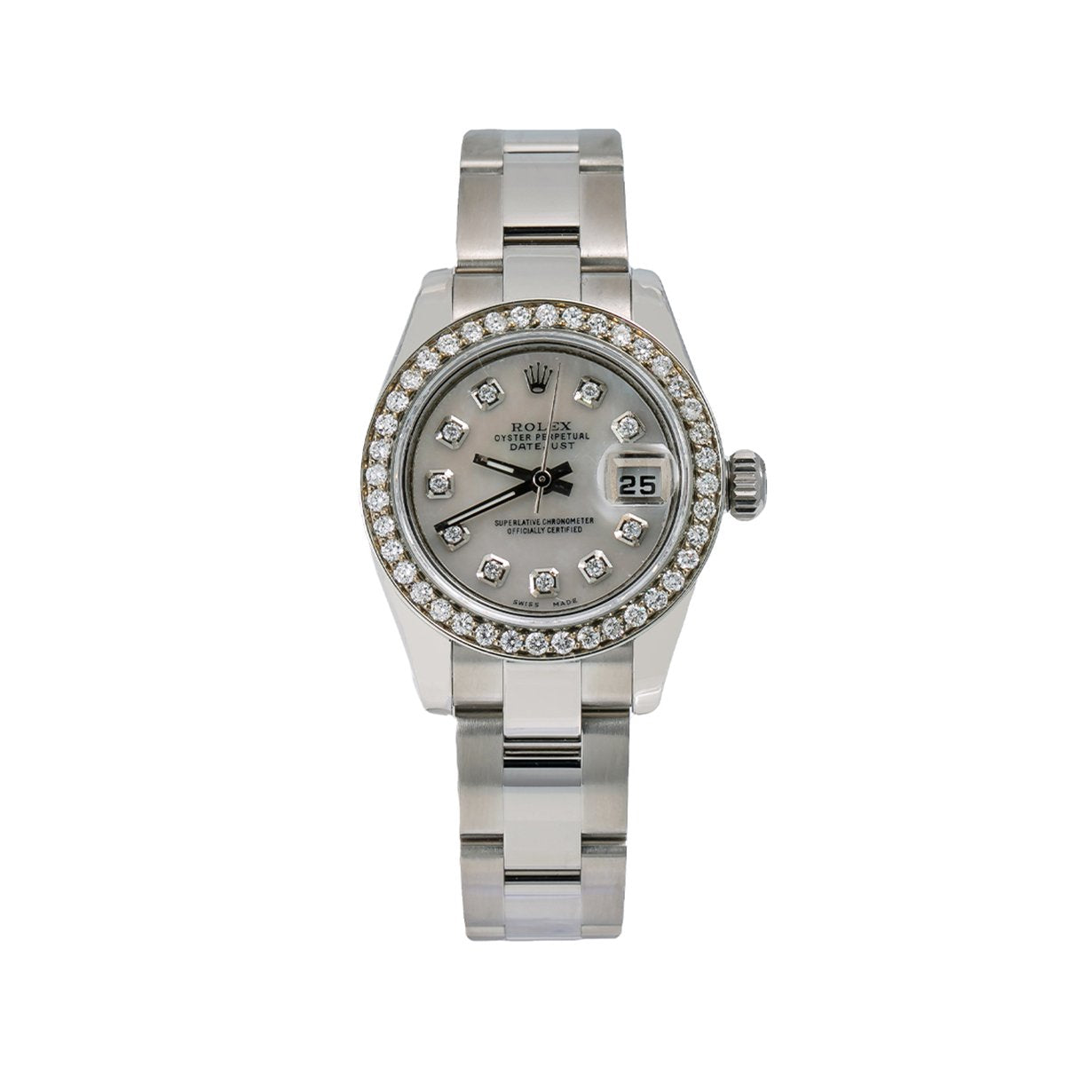 Rolex Datejust Diamond Watch, 179160 26mm, Silver Diamond Dial With 0.90 CT Diamonds