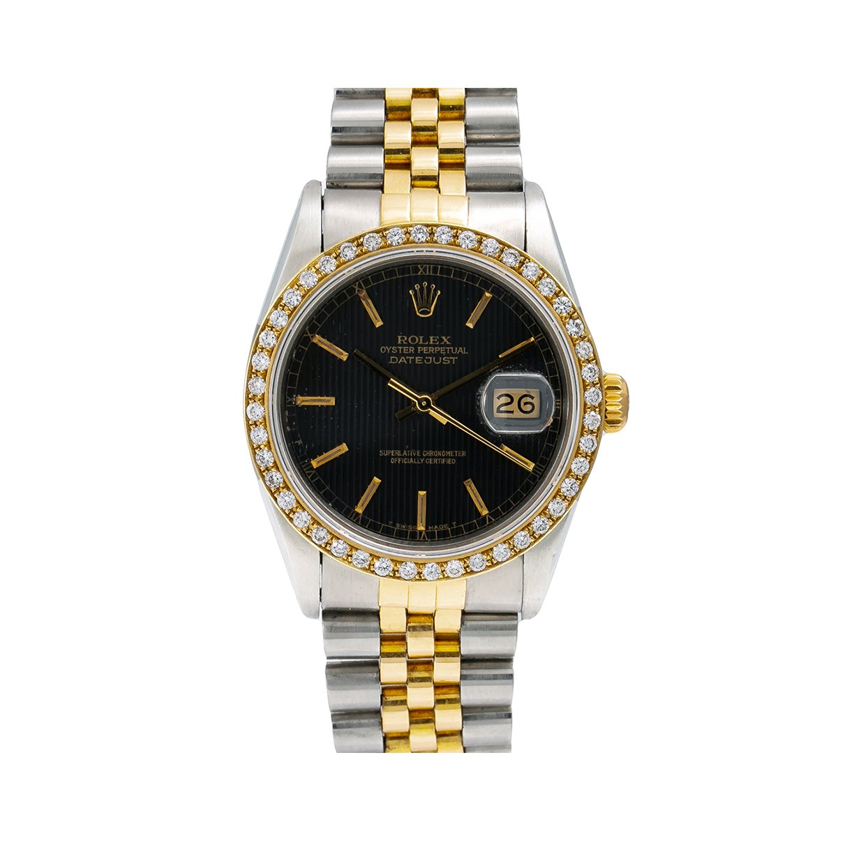 Rolex Datejust Diamond Watch, 16013 36mm, Black Dial With 1.10 CT Diamonds