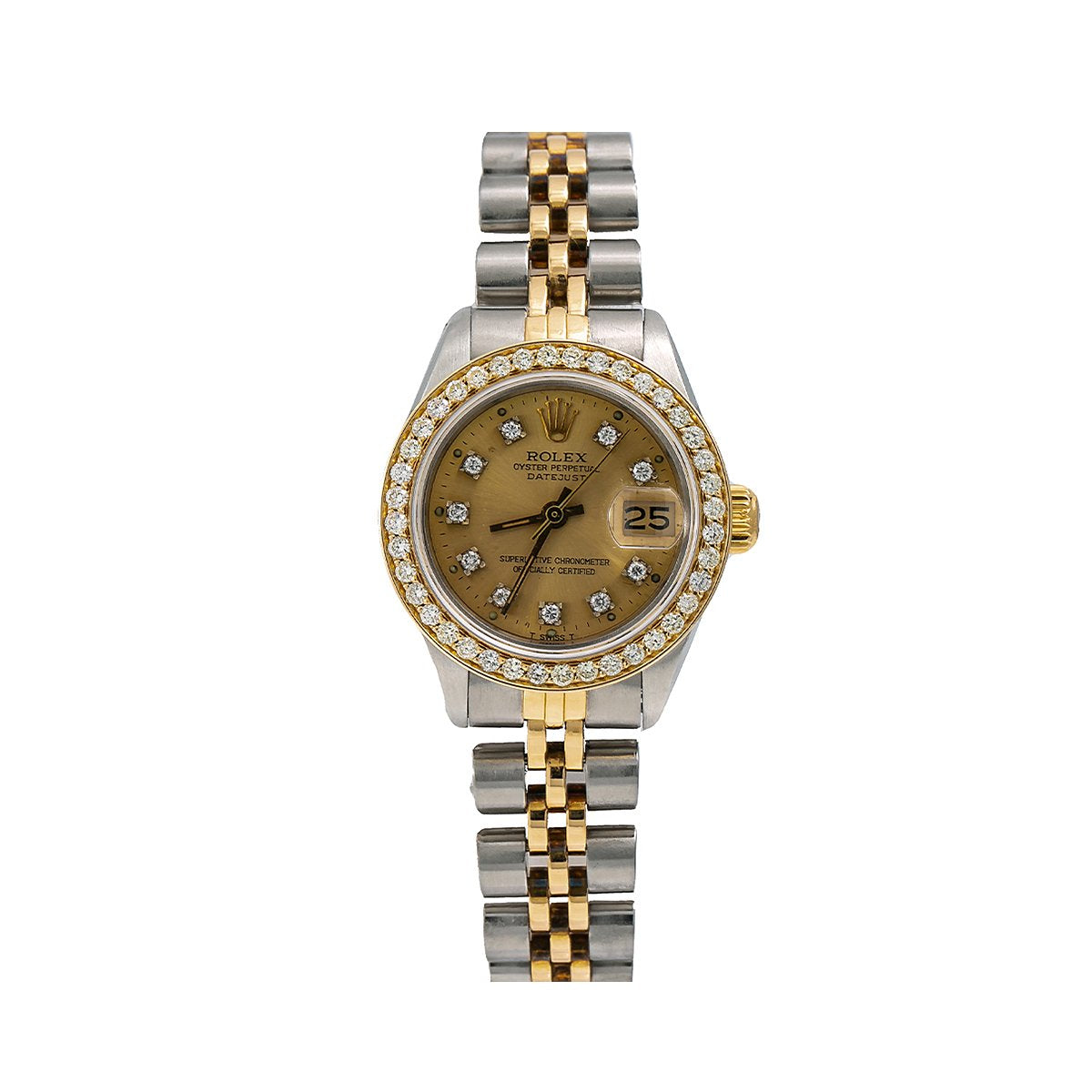Rolex Datejust Diamond Watch, 6917 26mm, Champagne Diamond Dial With 0.90 CT Diamonds