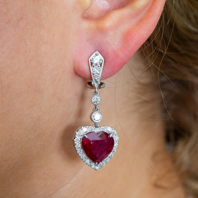 18K White Gold Ladies Heart Shaped Earrings With Ruby And Diamonds