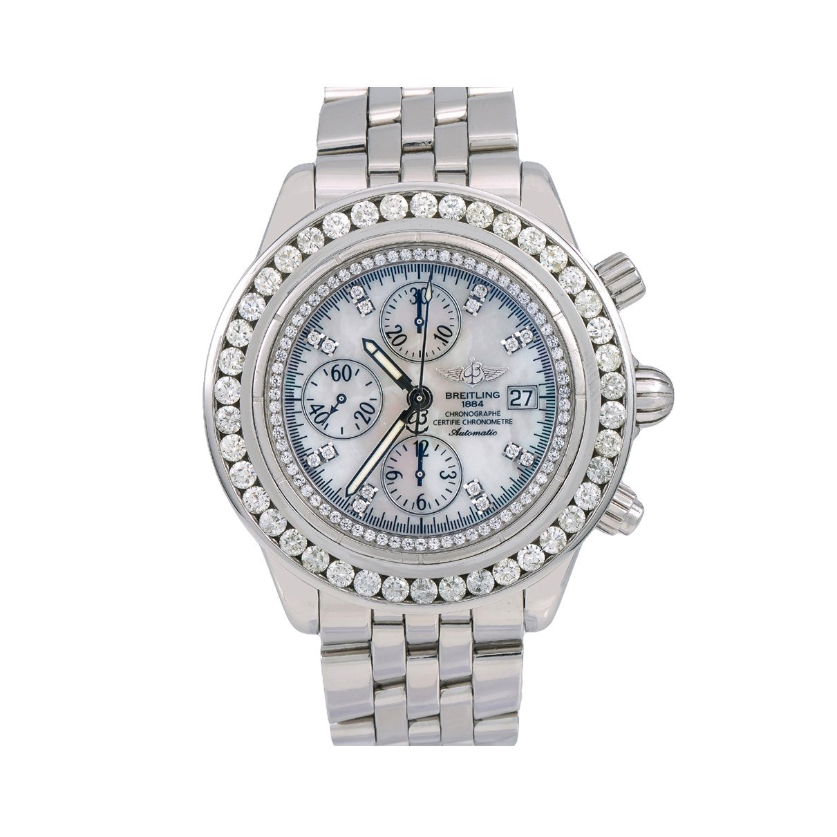 Breitling Chronomat Evolution A13356 44MM White Diamond Dial With Stainless Steel Bracelet