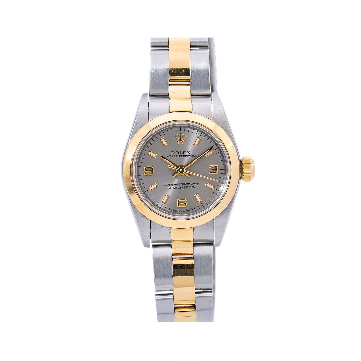 Rolex Oyster Perpetual NonDate 67183 24MM Silver Dial With Two Tone Oyster Bracelet