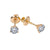 Small 14K Yellow Gold  Unisex  Round Shaped  Diamond Earrings