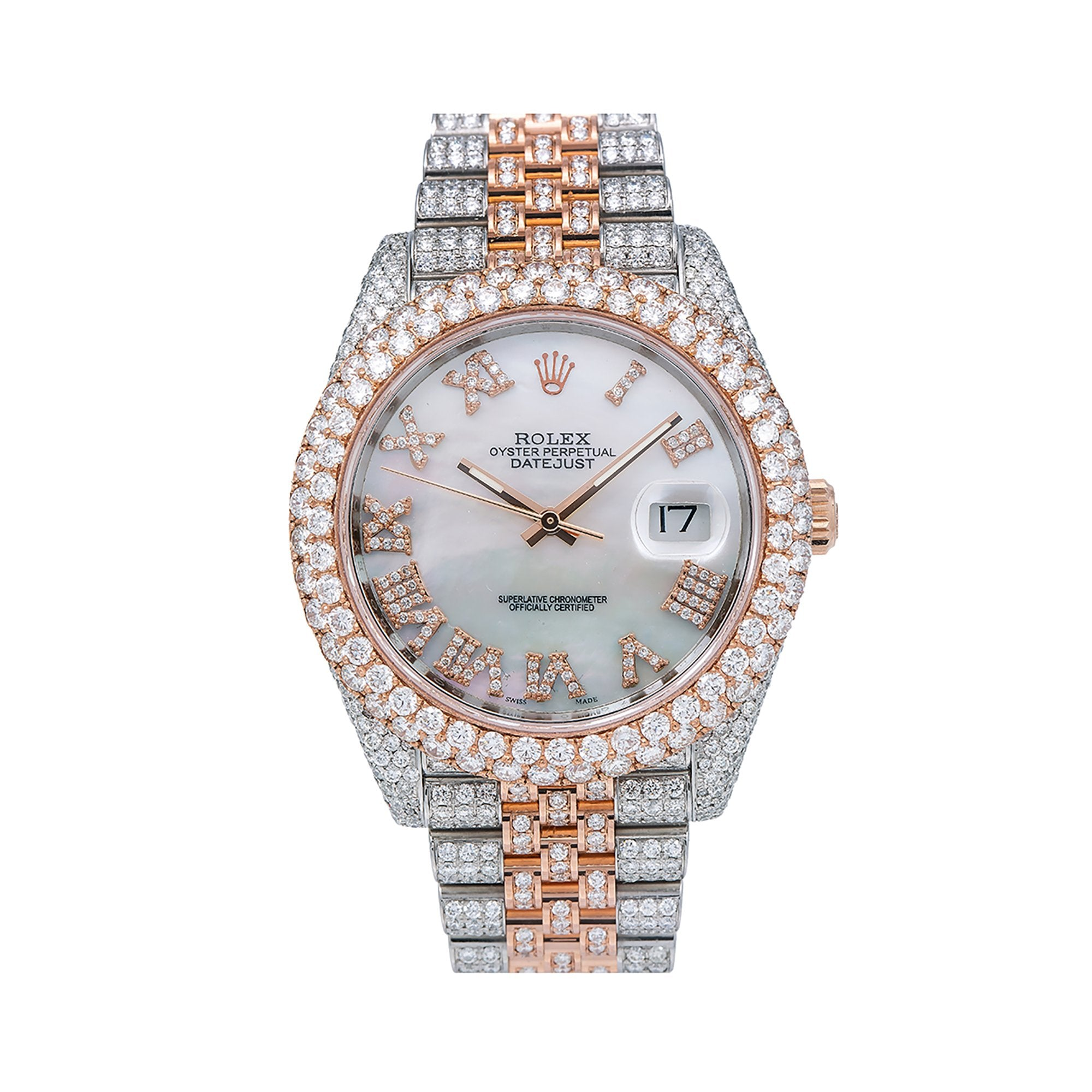 Rolex Datejust II Diamond Watch, 126331 41mm, White Mother of Pearl Diamond Dial With 19.25 CT Diamonds