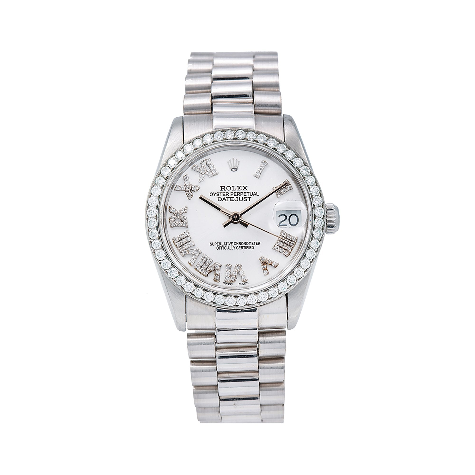 Rolex Datejust Diamond Watch, 31mm, Silver DiamondRoman Numeral Dial, White Gold Bracelet With 1.05 CT Diamonds