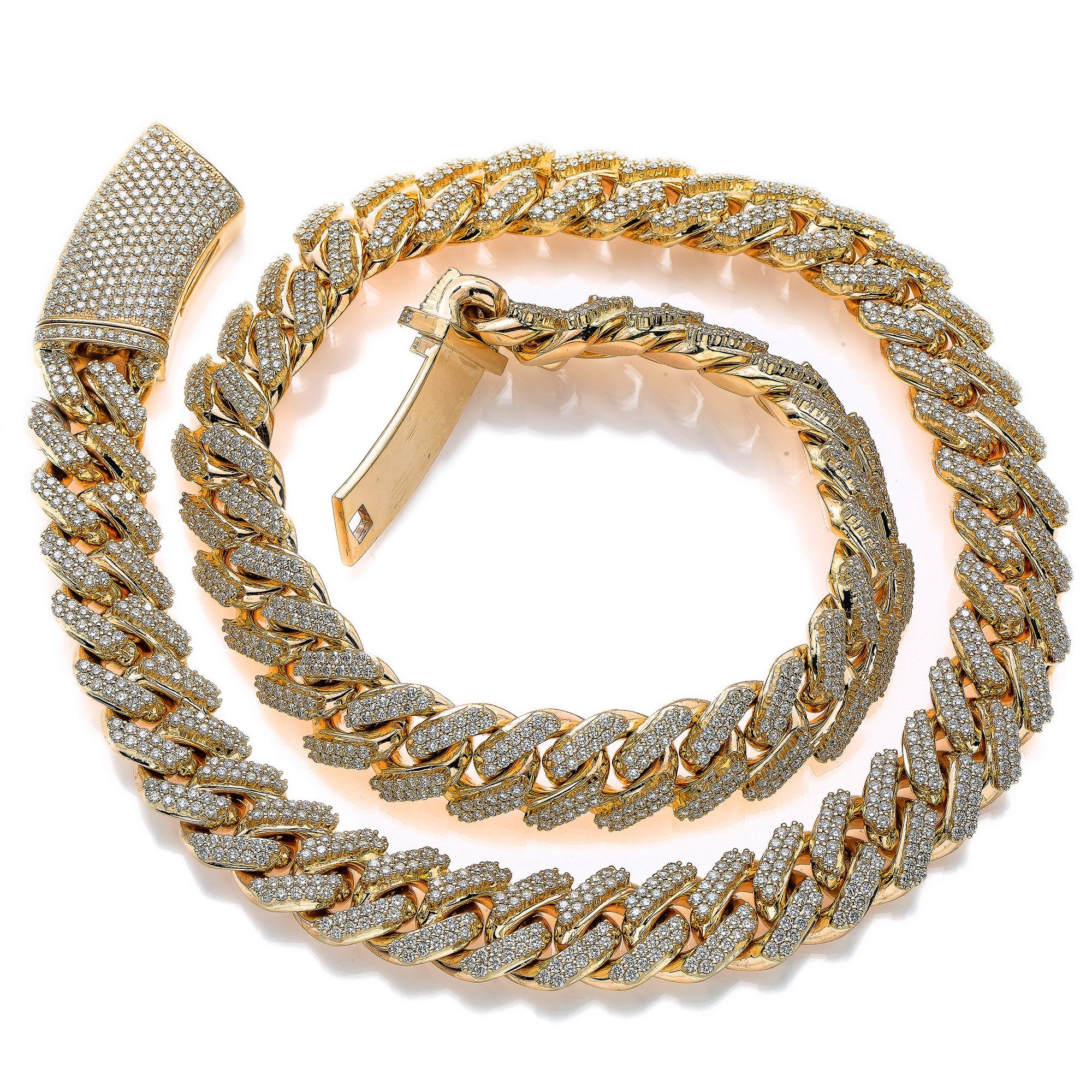 14K Yellow Gold Men's Cuban Chain With 37.86 CT Diamonds