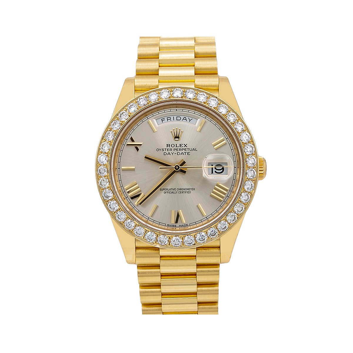Rolex Day-Date Diamond Watch, 228238 40mm, Silver Dial With 2.25 CT Diamonds