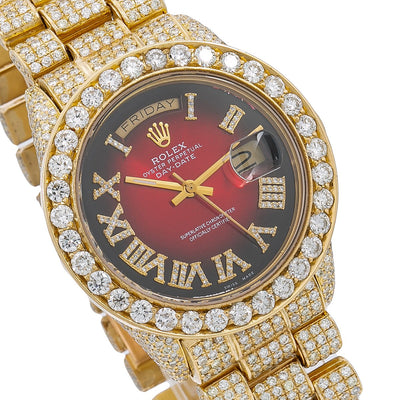 Rolex Day-Date Diamond Watch, 18078 36mm, Red Diamond Dial With 23.75 CT Diamonds