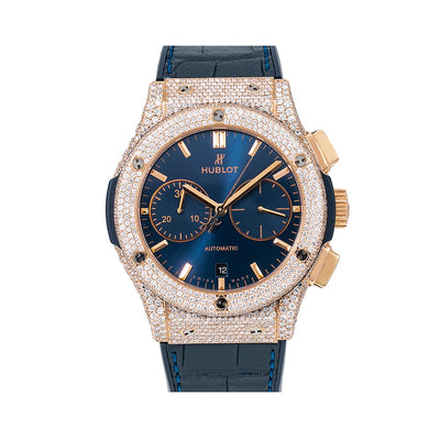 Hublot Classic Fusion 521.ox.7180.lr 45MM Blue Dial With 12.75 CT Diamonds
