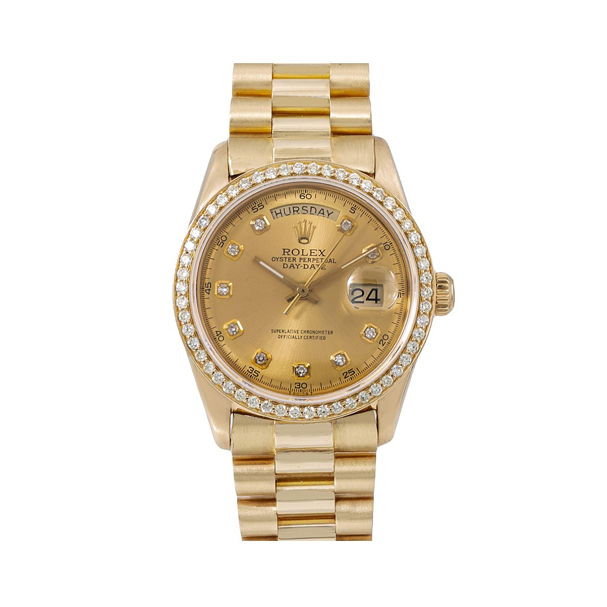 Rolex Day-Date Diamond Watch, 1803 36mm, Champagne Diamond Dial With 1.20 CT Diamonds