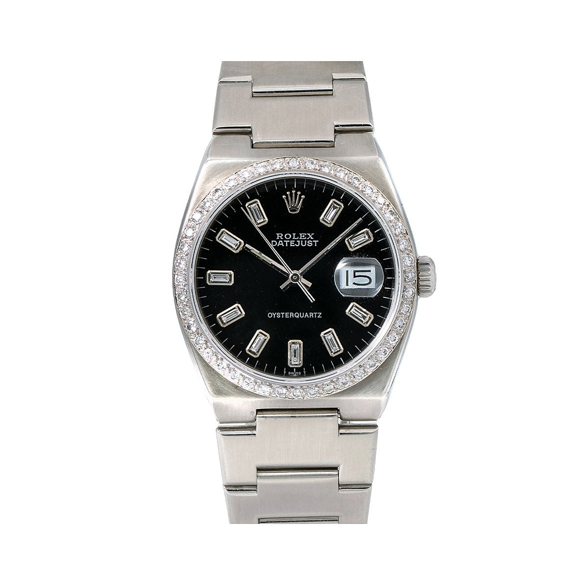 Rolex Datejust Diamond Watch, 17000 36mm, Black Diamond Dial With 1.25 CT Diamonds
