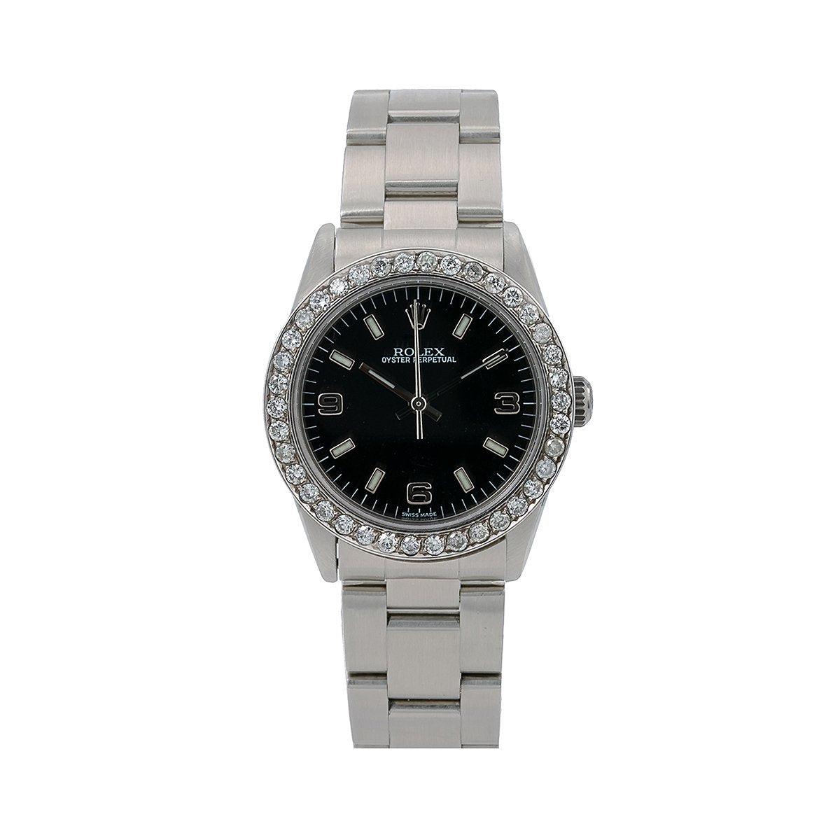 Rolex Oyster Perpetual Diamond Watch, 77080 31mm, Black Dial With 0.90 CT Diamonds