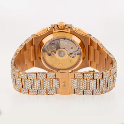 18K Rose Gold Patek Philippe Nautilus 5980/1R  40.5mm Champagne Dial Diamond Watch