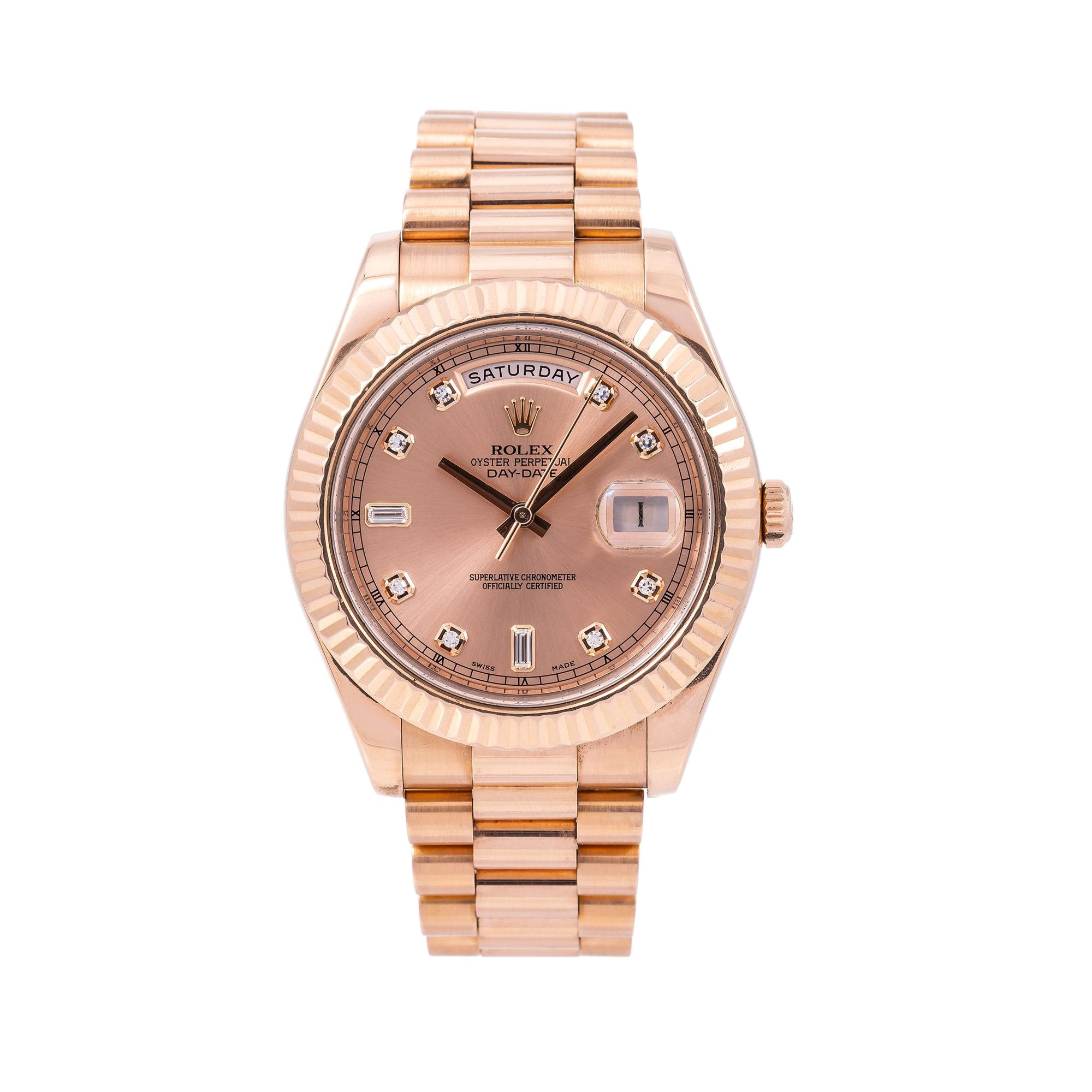 Rolex Day-Date II Diamond Watch, 218235 41mm, Rose Gold Factory Diamond Dial With Rose Gold President Bracelet